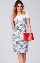 Dámské bílé šaty s krajkovým vzorem