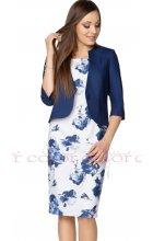 Modrobílé šaty s bolerkem pro plnoštíhlé