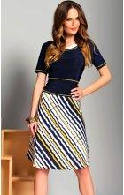 Dámské modrožluté šaty s krátkým rukávem