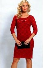 Krajkové šaty červené s rukávem