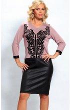 Dámské růžové šaty s černým vzorem