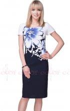 Dámské zeštíhlující modré pouzdrové šaty
