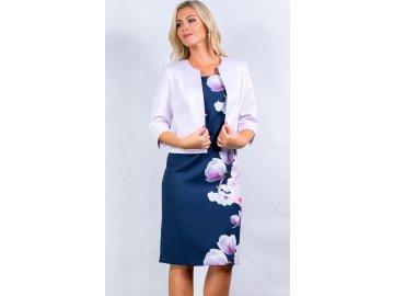 Dámské šaty pro plnoštíhlé s fialkovým bolerkem J580