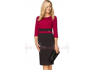 Dámské šaty vínově červené s rukávem