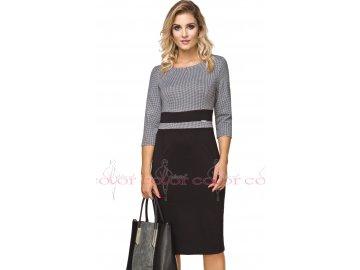 Dámské pouzdrové černobílé šaty A7153
