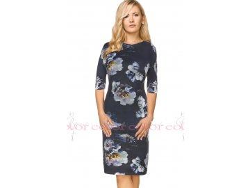 Dámské modré šaty s květy