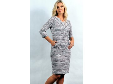 Dámské úpletové béžové šaty A723
