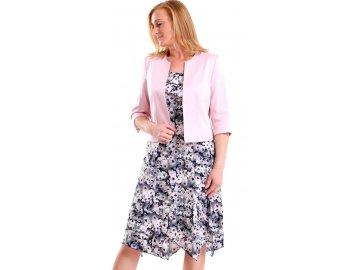 Dámské letní šaty s krátkým růžovým sakem
