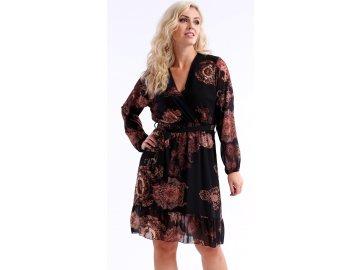Lehké černé společenské šaty s dlouhými rukávy K7530