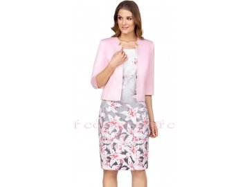 Letní květované šaty s růžovým bolerkem pro svatební matku
