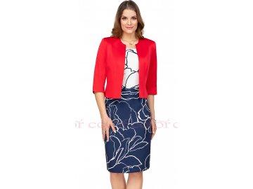Modrobílé šaty s červeným sakem i pro plnoštíhlé