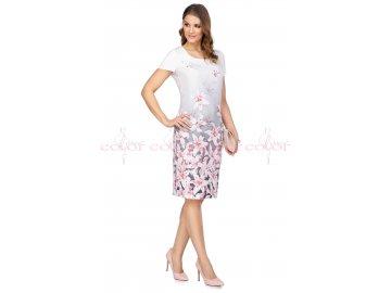 Dámské šaty s krátkým rukávem s růžovými liliemi i pro plnoštíhlé