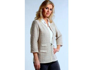 Dámské béžové úpletové sako i pro plnoštíhlé
