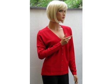 Dámský svetr na knoflíčky červený D61