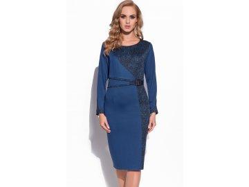Zeštíhlující modré šaty do společnosti A634