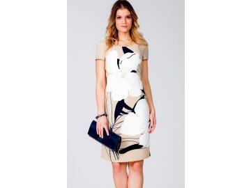 Dámské béžové šaty s krátkým rukávem L212