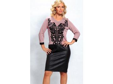 Dámské růžové šaty s černým vzorem A663