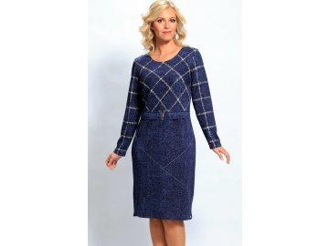 Zeštíhlující modré úpletové šaty A471
