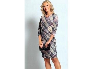 Dámské fialkové šaty s rukávem A451