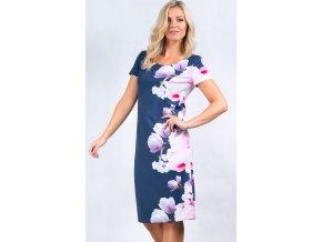 Dámské modré šaty s květy i pro plnoštíhlé L254
