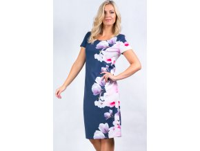 Dámské modré šaty s květy i pro plnoštíhlé
