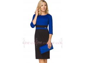 Dámské modré šaty zeštíhlující