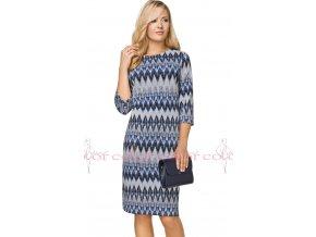 Dámské modré úpletové šaty A7025