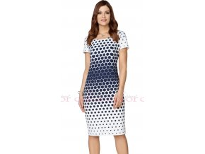Modrobílé zeštíhlující šaty s krátkým rukávem