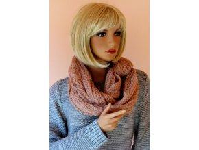 Pletená zimní šála růžová