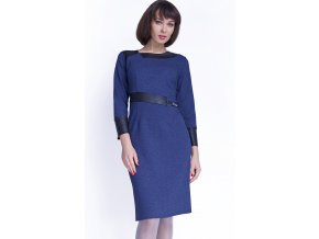 Dámské modré šaty pro plnoštíhlé