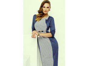 Dámské modrobílé šaty pro plnoštíhlé