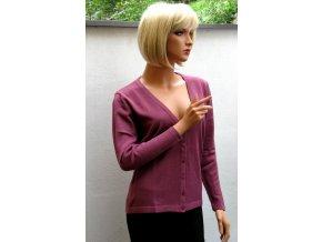 Dámský svetr na knoflíčky fialový