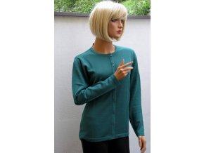 Dámský propínací svetr zelený