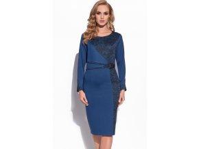 Zeštíhlující modré šaty do společnosti