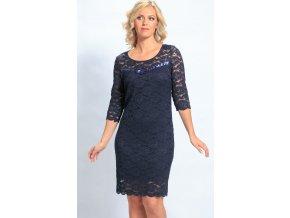Krajkové šaty modré i pro plnoštíhlé