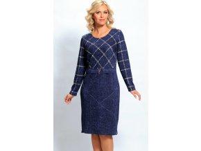 Zeštíhlující modré úpletové šaty