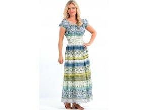 Dlouhé letní šaty s rukávky modré