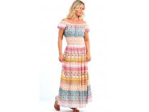 Dlouhé letní šaty s rukávky růžové