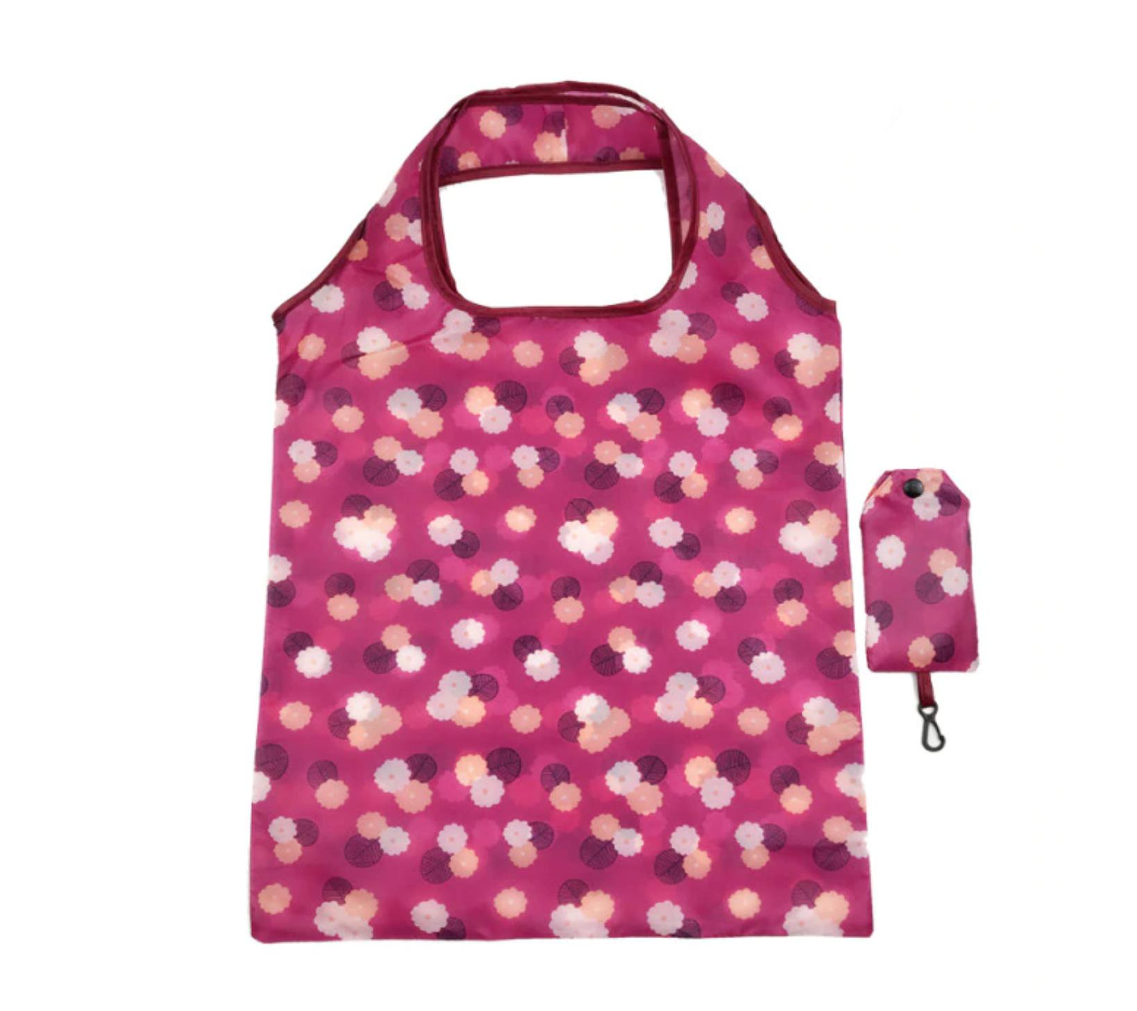 Skládací nákupní taška s kvítky - růžová