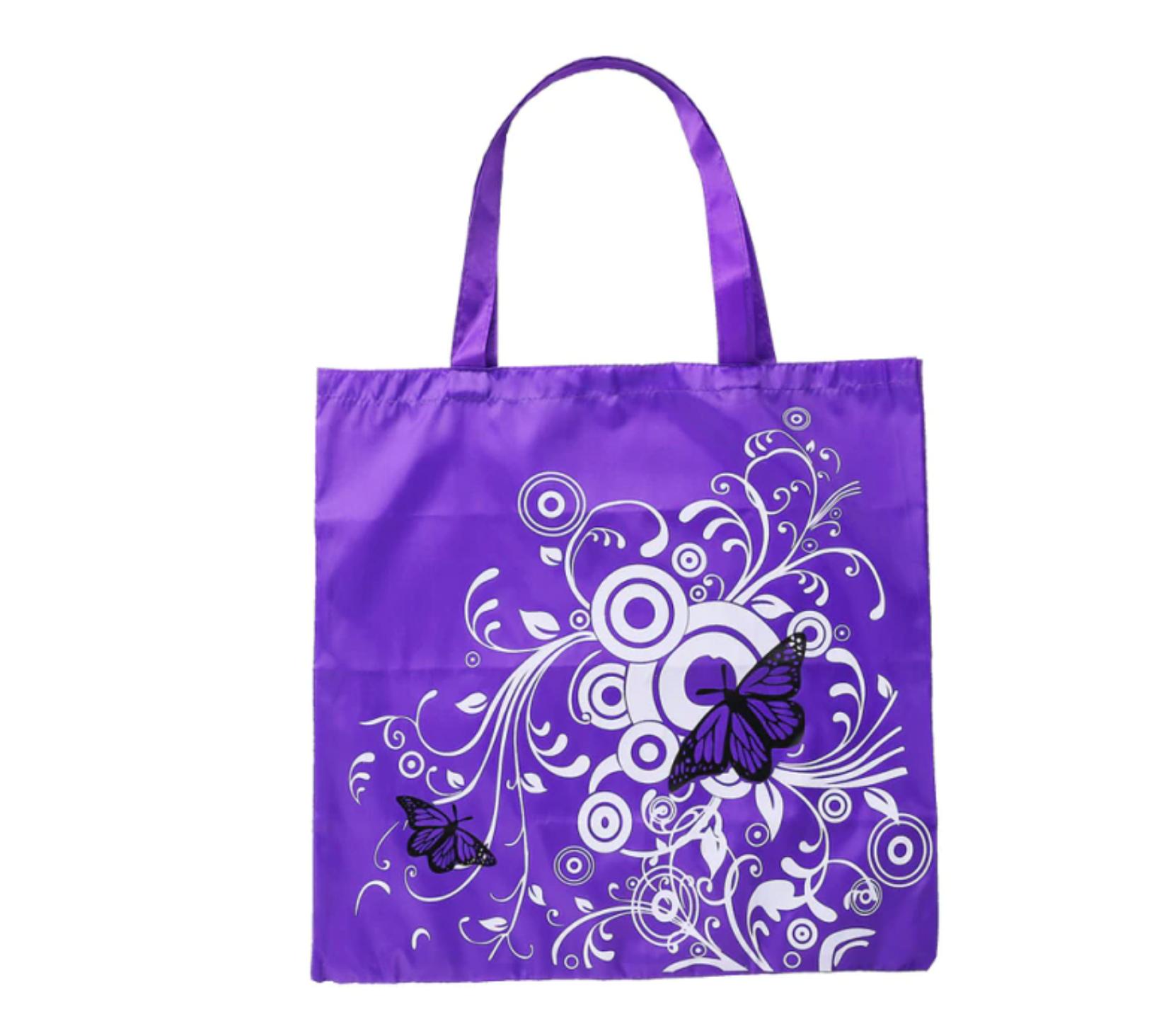 Skládací nákupní taška s motýl - fialová