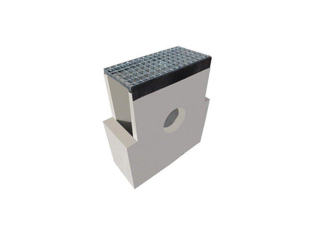 Sběrná vpusť žlab BETON 300 standard rošt pozink 1,5t (620 x 250 x 700 mm)