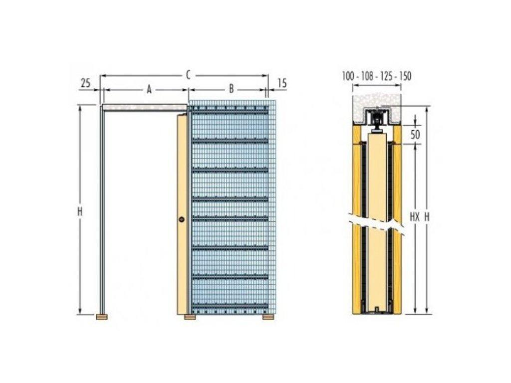 ECLISSE Stavební pouzdro JEDNOKŘÍDLÉ do zdi šířka 1000mm stěna 100 - 108 - 125mm