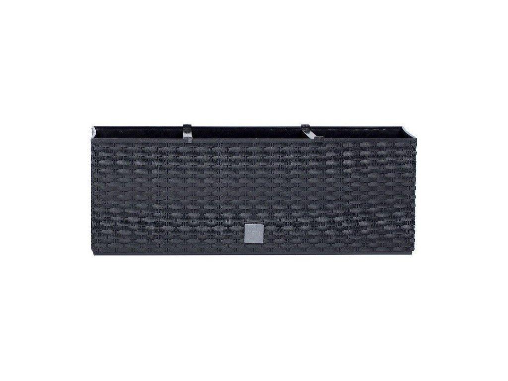 Plastové samozavlažovací truhlíky Rato Case antracit 60 x 25 cm