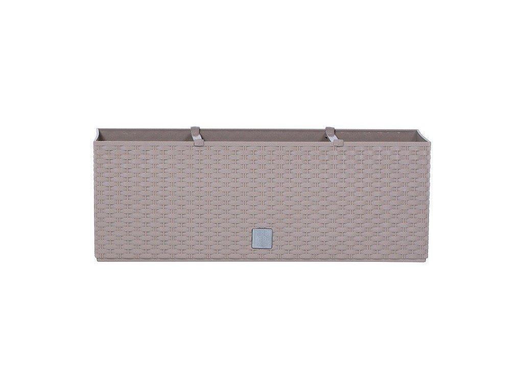 Plastové samozavlažovací truhlíky Rato Case mocca 80 x 33 cm