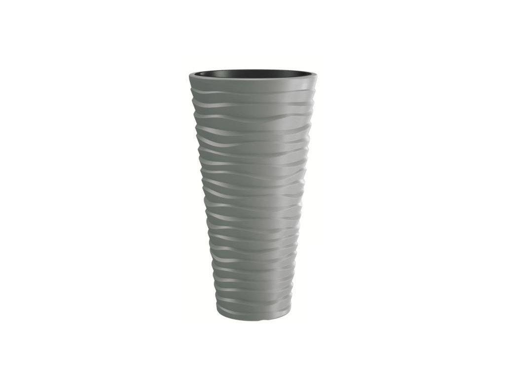 Plastové květináče Sand Slim šedý kámen Ø 29,6 cm