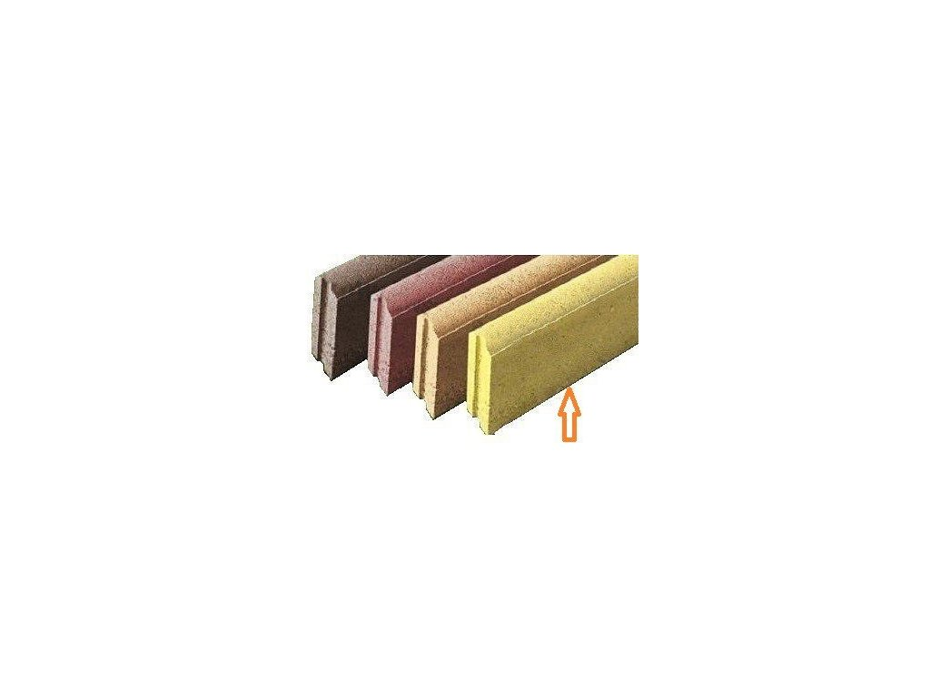 Betonový obrubník parkový 100 x 5 x 20 cm HRONEK žlutý