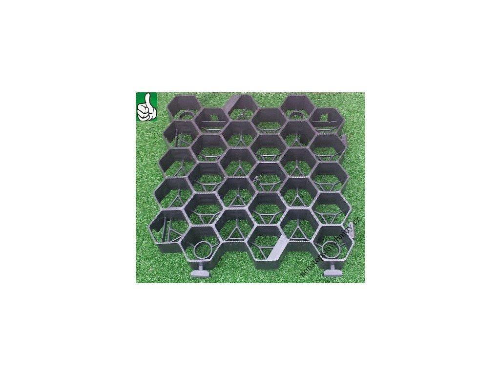 Zatravňovací dlažba černá 33,8 x 33,5 x 7,5 cm EXTRA STRONG