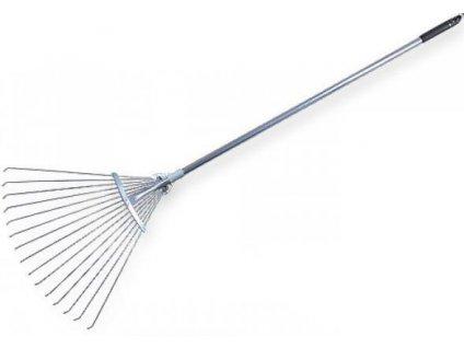 Hliníkové hrábě na listí - nastavitelná kovová rukojeť 122-156cm