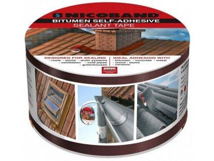 Těsnící páska 100 mm x 3 m asfaltová NICOBAND stříbrná