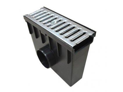 Sběrná vpusť 55 PVC pozinkovaná mříž 1,5t (330 x 130 x 300 mm)